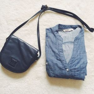 Vintage Navy Blue Crossbody Bag