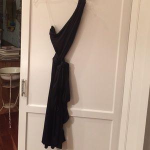 Black satin banana republic dress
