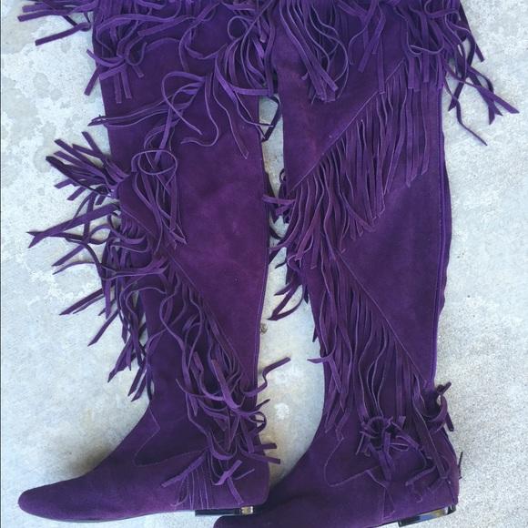 4363b4018d4dd8 Sam Edelman purple fringe suede boots