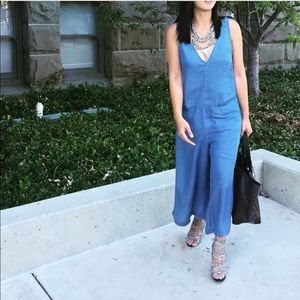 Zara Dresses & Skirts - Zara Chambray Culottes Jumpsuit