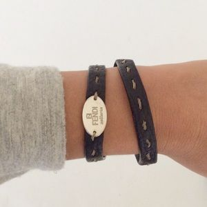 Fendi black leather wrap bracelet