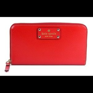 Kate Spade Wellesley Neda Leather Wallet. Red.