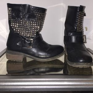 Black Silver Studded Buckle Ankle Boots