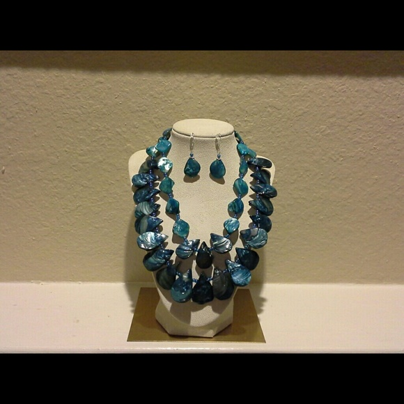 Lovinpink  Jewelry - Aquamarine Tear Drop Mother of Pearl by LovinPink