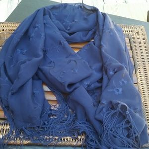 Unknown  Accessories - Navy Blue Extra Long Embroidered Scarf Beautiful