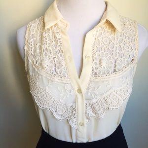 Chloe K Tops - Host Pick Lace Button Up Chiffon Shirt