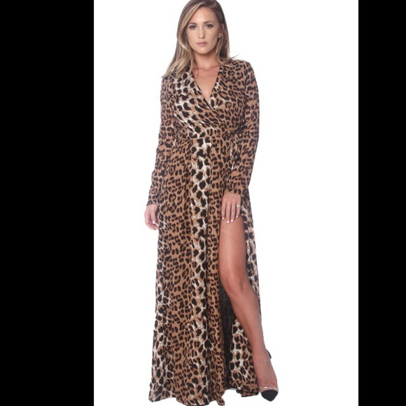 69% off Goodtime Dresses & Skirts - Naked Wardrobe Leopard Maxi ...