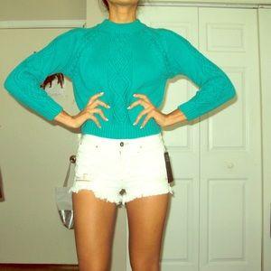 Jeanne Pierre Aqua knit sweater size XS-P
