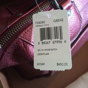 ccf2fdaab6 Coach Bags | Mickey Satchel Purse Metallic Cherry | Poshmark