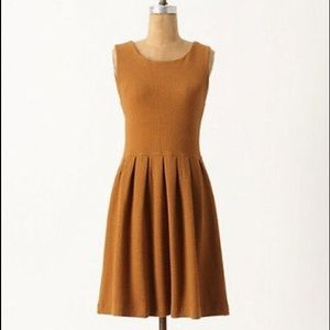 Anthropologie Ganni Noon and Night Gold dress sz S