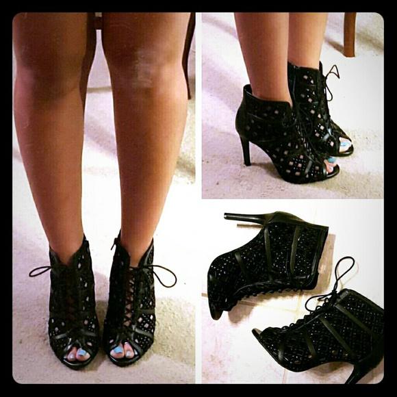 01a9b14c465 Gianni Bini Shoes - Gianni Bini studded black lace up heels