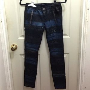 Leather and Denim Mixed Pants