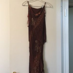 Romance Dresses & Skirts - Brown beaded dress with shawl