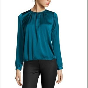 Vince Tops - VINCE Teal Satin Draped CrossFront Blouse NWT $295