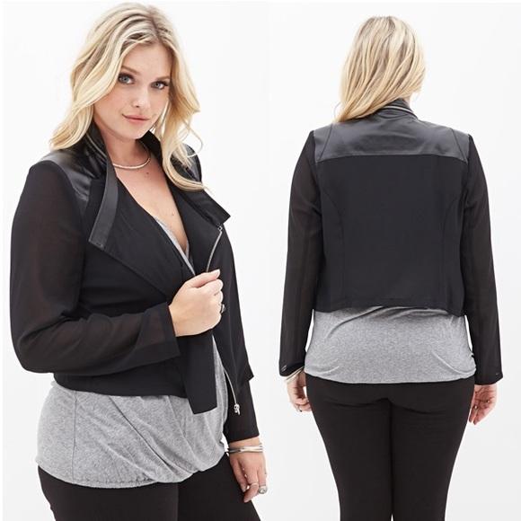 c729e32bbe1 🌚Black Faux Leather Chiffon Moto Jacket Plus Size