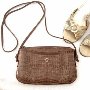Vintage '60s Crocodile Embossed Leather Bag