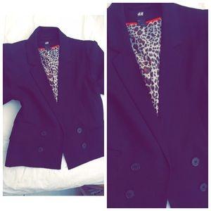 Leopard print lined blazer