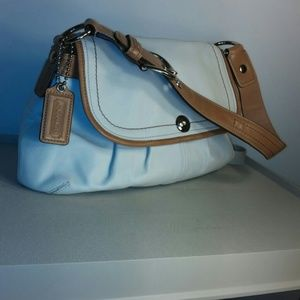 Coach Bags - COACH White and Camel Leather Hobo F13729