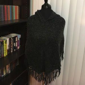 Jackets & Blazers - Hooded wool poncho