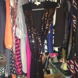 Michael Kors black sequin short sleeve wrap dress
