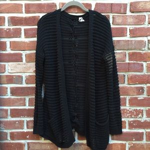 Willow & clay black cardigan sweater knit m Anthro