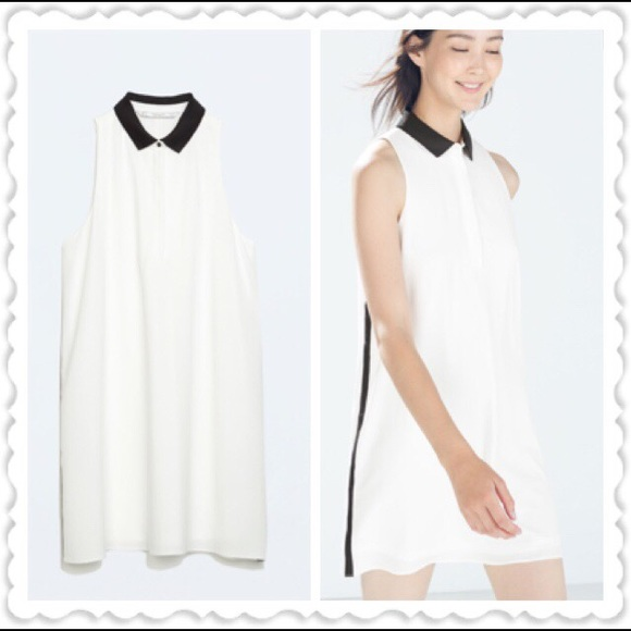 6d250ded8f5267 Only today-ZARA WHITE SHIFT DRESS WITH CONTRASTING.  M 55ffbd8215c8af990602074b