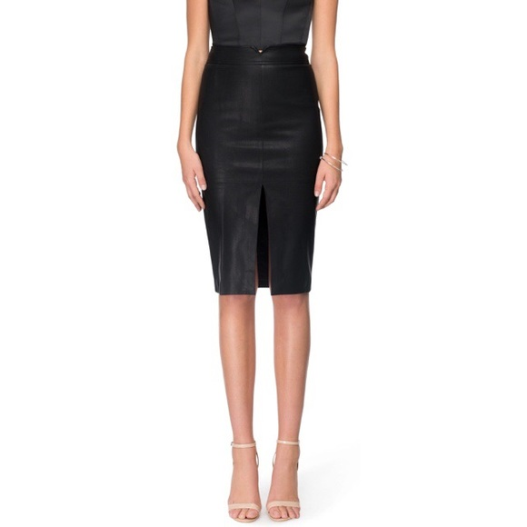 6234d2156 Bardot Black Faux Leather Midi Pencil Skirt NWT