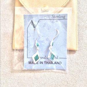 Jade Sterling Drop Earrings