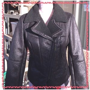 Romeo and Juliet couture faux leather jacket