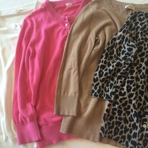 J. Crew Sweaters - Set of 4 Cardigans: Pink, White, Tan, Cheetah
