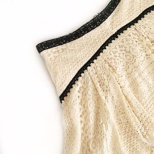 Free People Skirts - Free People Cream Lace Skirt with Black Lace Trim