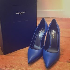 NWT Authentic Saint Laurent cobalt blue pumps