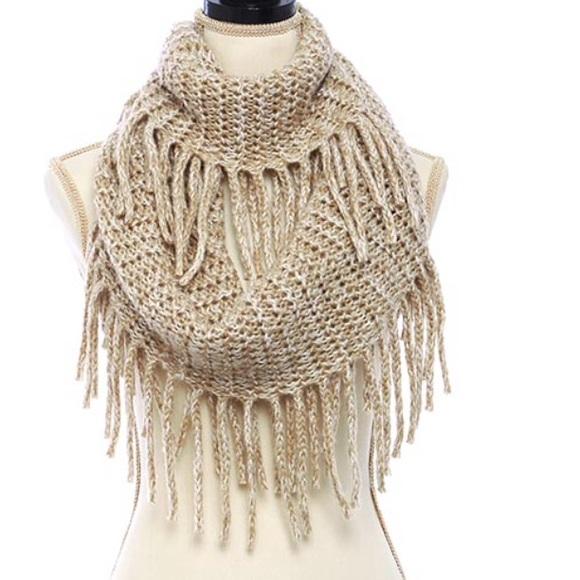 Knitting Pattern Scarf With Fringe : Ivory knit Fringe Infinity Scarf OS from Charlottes closet on Poshmark