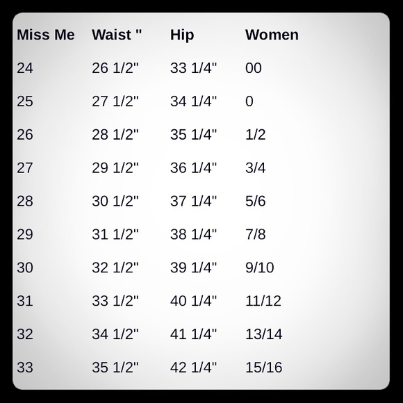 e3cd7831b1a Miss Me Jeans Size Chart