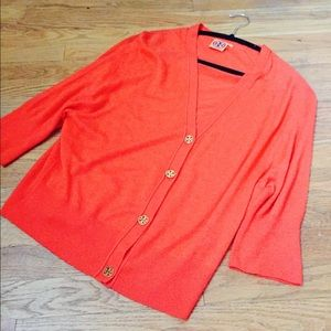 Tory Burch Sweaters - Tory Burch Orange Cardigan