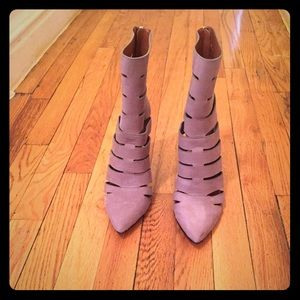 Taupe cut out ankle booties by Rebecca Minkoff
