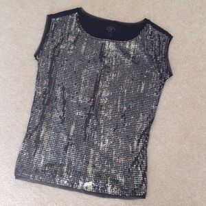 Ann Taylor Loft petites black sequin top