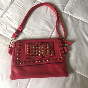 Handbags - Pink studed crossbody bag/ clutch