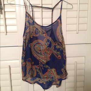 Paisley sheer top with open back