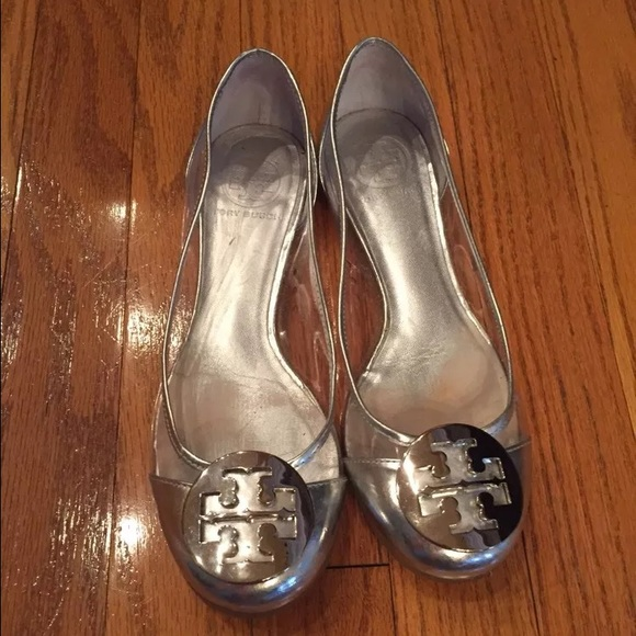 Clear and silver Tory burch ballet flats 6.5