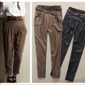 High Waisted Pants brown pleated