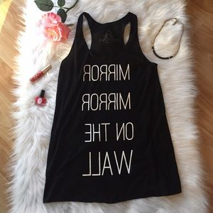 Mirror Graphic Print Black Tank Top