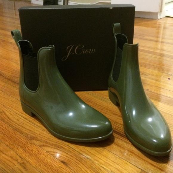563c351373993 J. Crew Shoes | Jcrew Chelsea Rain Boots Army Green | Poshmark