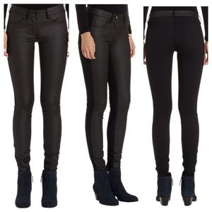 3x1 Coated Contrast Black Jeans NWT