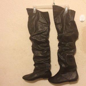Shoes - SCRUNCHIE THIGH HIGH BLACK BOOTS