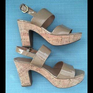 Franco Sarto Nude/Tan Patent Sandals Cork Heel