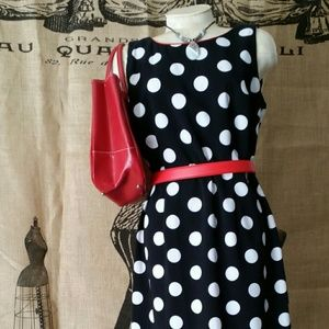 Dots Dress With Red Belt