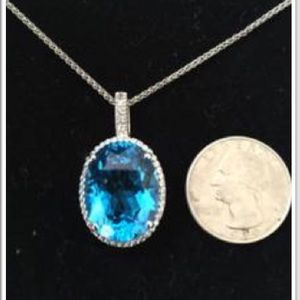 Jewelry - Stunning 20 carat blue topaz necklace