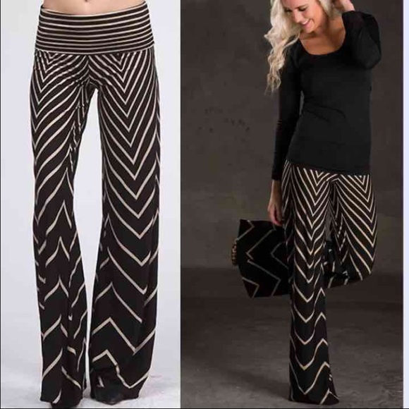 2ae83bf47ae2a6 Pants | Chevron Palazzo Black White Wide Leg New | Poshmark