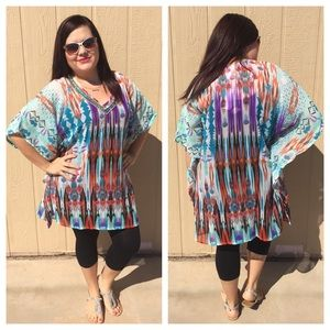 🆕LISTING Aztec Colorful Beaded Caftan Style Top